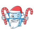 santa with candy cartoon double boiler for the vector image