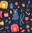seamless pattern with new year and christmas vector image