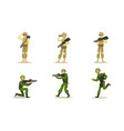 set military men in green and beige uniforms vector image