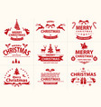 set of red merry christmas label vector image