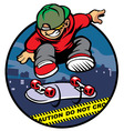 Skater boy doing kickflip over police line vector image vector image