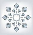 snowflake made a lot of from diamonds vector image vector image