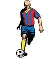 soccer player dribbling ball vector image vector image