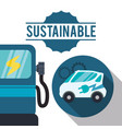 sustainable car gas ecology vector image vector image