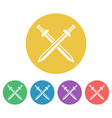 swords set colored round icons vector image
