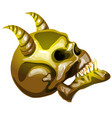 the golden skull of the devil in profile isolated vector image