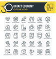 untact economy outline icons vector image vector image