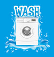 washing machine and splash of water vector image vector image
