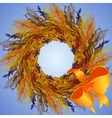 Wheat wreath and ribbon with bow circle frame vector image
