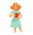 woman holding red watering pot isolated on white vector image vector image
