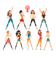 young women showing fists set symbols of feminism vector image vector image