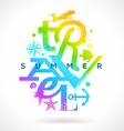 Summer travel multicolored type design vector image