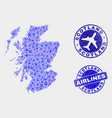 airplane composition scotland map and vector image vector image