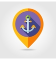 Anchor flat mapping pin icon with long shadow vector image