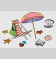beach set tourism and leisure on sea isolate vector image