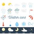 beautiful flat weather icons set 22 icons vector image