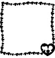black and white retro framework of hearts with vector image vector image