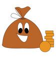 brown smiling moneybag with golden coins on white vector image