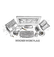 Business concept working desk Hand drawn sketch vector image