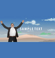 businessman raising his hand happy on background vector image vector image