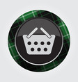 button with green black tartan - shopping basket vector image vector image