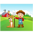 Cartoon little boy and dog in the farm vector image vector image