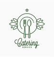 catering linear logo with plate and fork on white vector image vector image