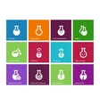 Chemical bulb icons on color background vector image vector image