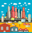 City - Town - Easy Flat Design with Houses vector image vector image