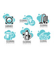 cleaning and laundry services logo set vector image vector image