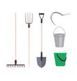 collection garden tools or agricultural vector image