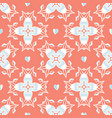 coral geometric damask hand drawn seamless vector image vector image