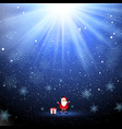 cute santa and gift on snowflake background vector image vector image