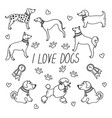 dog breeds set with the inscription i love dogs vector image vector image