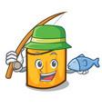 fishing rigatoni mascot cartoon style vector image vector image