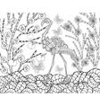 Flamingo in flower garden vector image