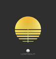 gold sun logo template golden gradient logotype vector image