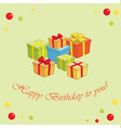green background with gifts - happy birthday vector image vector image