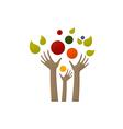 hands nutrition happy logo vector image