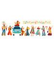 hippie cartoon characters happy people in retro vector image vector image