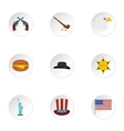 Holiday in USA icons set flat style vector image vector image