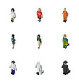 isometric people set of detective policewoman vector image vector image