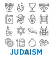 judaism religious symbols thin line icons vector image vector image