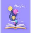 literacy day open book papercut hot air balloon vector image