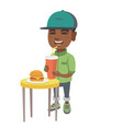 little boy drinking soda and eating cheeseburger vector image vector image