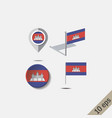 map pins with flag cambodia vector image