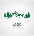 mountain green forest logo vector image vector image