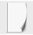 New white page curl on blank sheet isolated paper vector image vector image