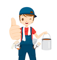 Painter Thumbs-Up With Colour Bucket And Tools vector image vector image