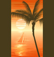 palm tree on sunset sea background with yacht vector image